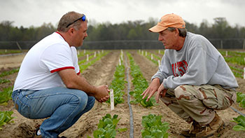 Photo of Two Agents Speaking in a Field